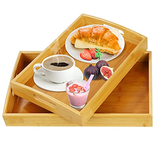 Pitmoly Bamboo Serving Tray, Ottoman Tray with Handles, Set of 2 Wooden Trays, Serving Platter for Breakfast, Dinner, Coffee Table Tray in Kitchen, Bedroom, Living Room