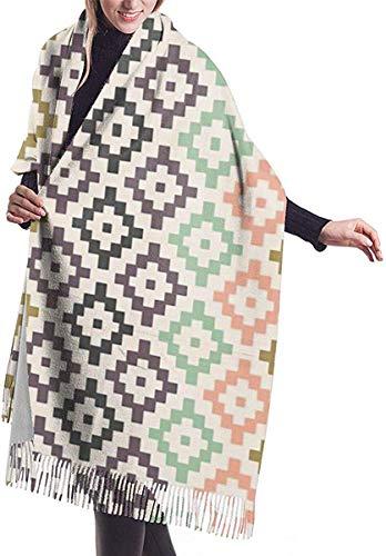 Irener Wickeldecke Schal, Women's Scarf Tribal Geometric Navajo Southwest Boho Nursery Diamonds Classic Tassel Plaid Scarf Autumn And Winter Warm Scarf