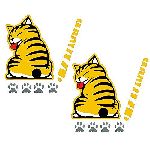 Gobesty Wiper Decal Sticker, 2 Stücke Reflektierende Auto-Scheibenwischer Aufkleber Cute Lustiger Cartoon- Cats Schwanz Scheibenwischer Aufkleber
