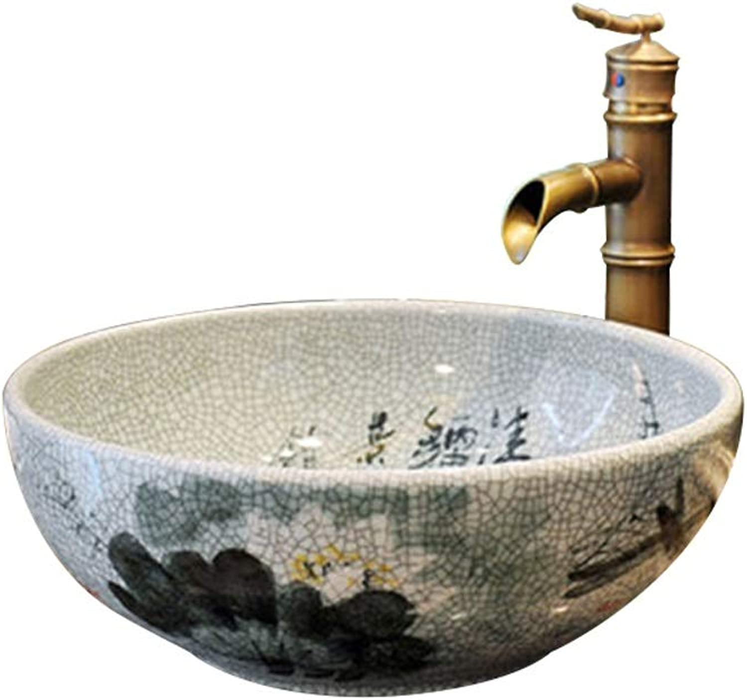 Round Ceramic Washing Basin, Countertop Basin Sink ,41X15 Cm (Faucet Not Included)