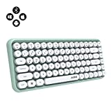 NACODEX 308I Wireless Bluetooth Keyboard, Compact 84 Keys Retro Round Keycaps Mini Keyboard, Portable Computer Keyboard with Quiet Chocolate Keys for Windows/iOS/Android (Green)