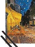 1art1 Vincent Van Gogh Póster (91x61 cm) Terraza De Café por La Noche, Place Du Forum, Arlés, 1888 Y 1 Lote De 2 Varillas Negras