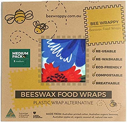 Beeswax Food Wraps - Reusable - Medium Storage - Wraps Lunch - Easily Washable - Eco Friendly - Sustainable - Organic