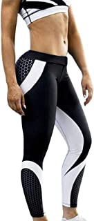 Sunhusing Women's 3D Honeycomb Printed Yoga Pants Skinny Workout Gym Leggings Sports Training Cropped Pants