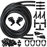 Smilerain Windshield Washer Nozzles Kit, 49 Pcs Windshield Sprayer Nozzle 3 Meters Fluid Hose and Connector Rubber Gasket for Replacement, I/Y/T Types Connector Compatible with E53 EY4760