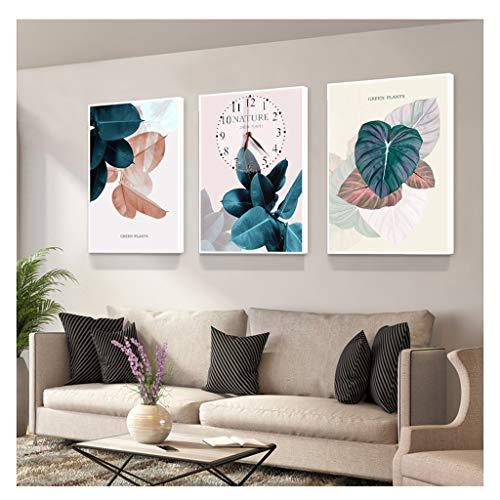 WYZ Wandklokken Canvas Afbeeldingen Foto Canvas Afbeeldingen Canvas non-tick woonkamer decoratieve wandklok, Stum slaapkamer keuken Zonder glasvezel film klok 50 * 70 cm (3 stuks)