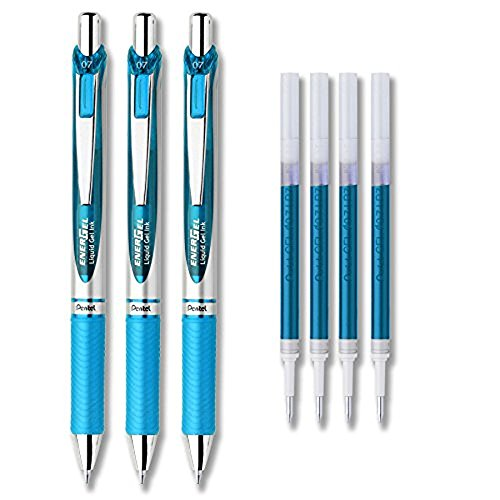 Pentel EnerGel Deluxe RTX Liquid Gel Ink Pen Set Kit, Pack of 3 with 0.7mm Pen with 4 Refills (Sky Blue - 0.5mm)