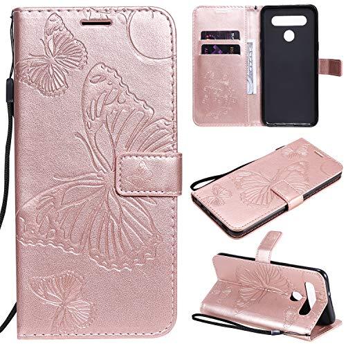 ViViKaya Handyhülle für LG K41S、K51S,Schlanke Leder Schmetterling Brieftasche hülle Flip Folio Handytasche für LG K41S、K51S [Rose Gold]