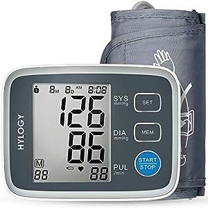HYLOGY Tensiómetro de Brazo, Tensiómetro de Brazo Automatico Digital, 2 Memorias de Usuario(2 * 90), Detección de Frecuencia Cardíaca Irregular, Validado Clínicamente (Gris)
