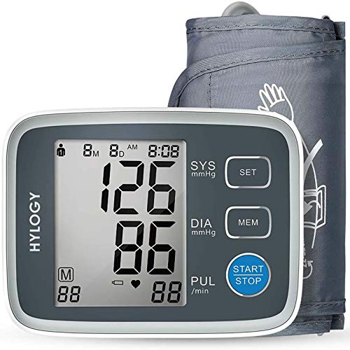 Tensiómetro de Brazo, HYLOGY Monitor de Presión Arterial Digital Automatico con Gran Pantalla LCD, Deteccion de Irregular Arritmia, Brazalete 22-32cm, 2x90 Memoria