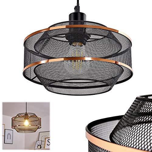 Suspension Limassol en métal noir & cuivré, élégante lampe pendante créant un effet lumineux par son abat-jour grillagé, hauteur max. 150 cm, Ø 25 cm, pour 1 ampoule E27 max 60 Watt, compatible LED