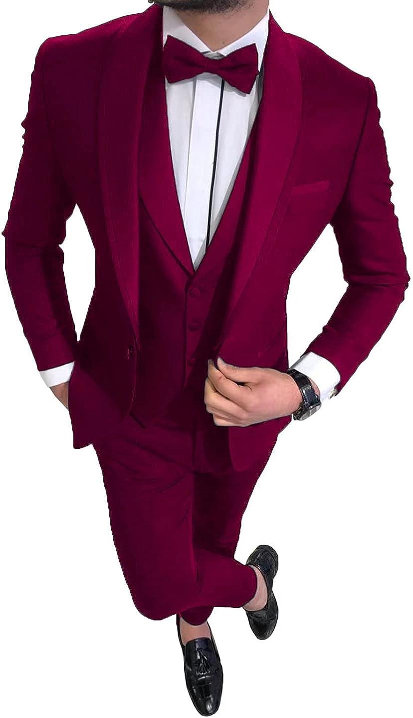 Trim Fit Suits Shawl Lapel Wedding Groomsmen Prom Tuxedos Formal Business Blazer