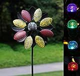 Solar Metall Windrad - dreifarbig mit buntem LED-Licht - Windspiel für draußen - einfache Montage - extra antike Gartendeko - wetterfest, standfest - ideal für Terrasse und Garten -...