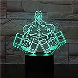 Baobaoshop LED Nachtlicht Übung Hantel Fitness 3D Desktop Nachtlicht, für Heimtextilien verwendet,...