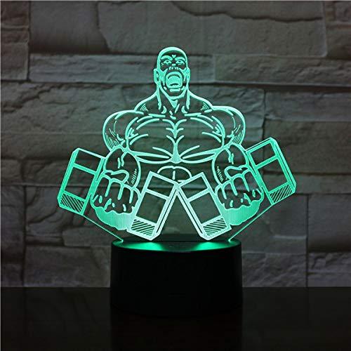 Nachtlampe Led Nachtlampe Sport Hantel Fitness 3d Schreibtisch Nachtlicht Für Zuhause Dekoratives Cooles Geschenk Für Clubmitglieder Led Nachtlicht 3d