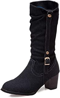 FAPIZI Women's Mid-Calf Boots Round Toe Chunky Heels Mid Heel Buckle Strap Cowboy Vintage Boots Square Heel Boots