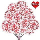 HOWAF 30pcs Herzen Konfetti Latex Luftballons, rotes und rosa Herz Konfetti Luftballons Latex Ballons für Geburtstags Hochzeit Babyparty Valentinstag Dekoration