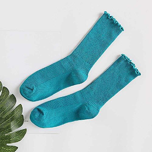 XIAOPENG Frühling/Sommer/Winter Damen Socken Fungus Retro Socken Tube Stacking Socken Einfarbig Damen Socken 均码/Blau