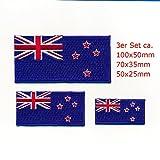 hegibaer 3 Neuseeland Flaggen Wellington New Zealand Flags Aufnäher Aufbügler Set 1078