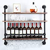 Industrial Pipe Shelf Wine Rack Wall Mounted with 9 Stem Glass Holder,3-Tiers Rustic Floating Bar Shelves Wine Shelf,36in Real Wood Shelves Kitchen Wall Shelf Unit,Steam Punk Pipe Shelving Glass Rack