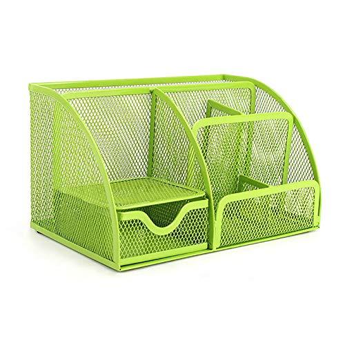 VANRA, organizer a rete di metallo, portaoggetti per scrivania, ufficio e scuola, 6scomparti, con cassetti Green