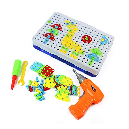 CalmTime 150/240/234 Pcs Assembled Building Blocks Electric Drill DIY Kid Toys Hands-on Disassembly Screw Toy Gifts for Children