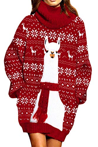 FUPHINE Red Alpaca Claus Pattern with Sequin Scraf Knit Christmas Dress Santa Ugly Sweater for Women Red 2 M