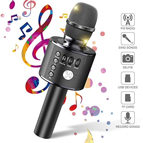 Tesoky Karaoke Microphone, Wireless Bluetooth Microphone for Kids Fun Toys for 3-12 Year Old Boys at Party Home,Best 3-12 Year Old Boys Gifts Birthday Gifts for 3-12 Year Old Boys Kids (Black)