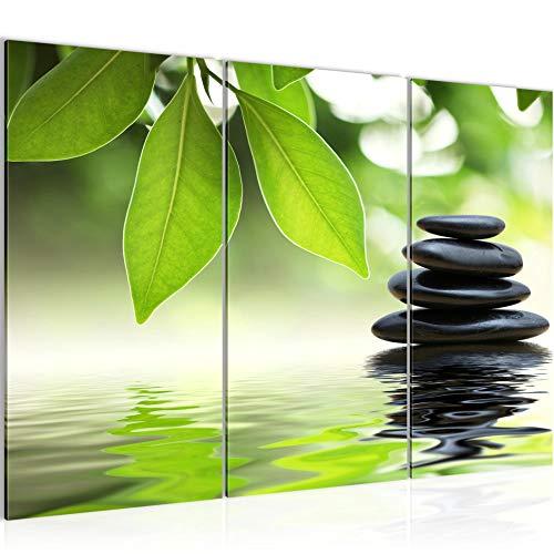 Bilder Feng Shui Steine Wandbild 120 x 80 cm Vlies - Leinwand Bild XXL Format Wandbilder Wohnzimmer Wohnung Deko Kunstdrucke Grün 3 Teilig - MADE IN GERMANY - Fertig zum Aufhängen 501131a
