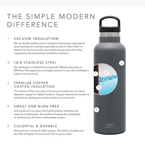 Simple Modern 20oz Ascent Water Bottle - Hydro Vacuum Insulated Tumbler Flask w/Handle Lid - Gray Double Wall Stainless Steel Reusable - Leakproof -Graphite