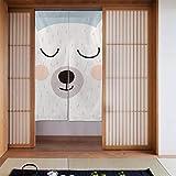 LONGYUU Männer Küchenvorhänge Baby Bär Teddy Mode Cartoon Küchenvorhänge Bauernhaus Küchenvorhänge Japanisch Lang Typ Für Zuhause Küchentür Dekoration 34 X 56 Zoll (86x143cm)