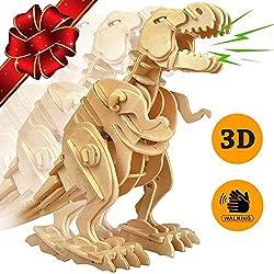 7. ROKR Walking T-Rex 3D Wooden Dinosaur Puzzle Kit