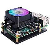 GeeekPi Raspberry Pi 4 Fan, Raspberry Pi Low-Profile CPU Cooler with RGB Cooling Fan and Raspberry Pi Heatsink for Raspberry Pi 4 Model B & Raspberry Pi 3B+ & Raspberry Pi 3 Model B (Black)