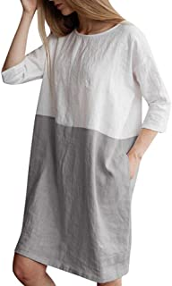 CUCUHAM Women Casual Patchwork 1/2 Sleeved Cotton Linen Loose Pockets Tunic Dress