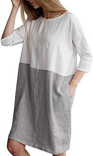 CUCUHAM Women Casual Patchwork 1/2 Sleeved Cotton Linen Loose Pockets Tunic Dress
