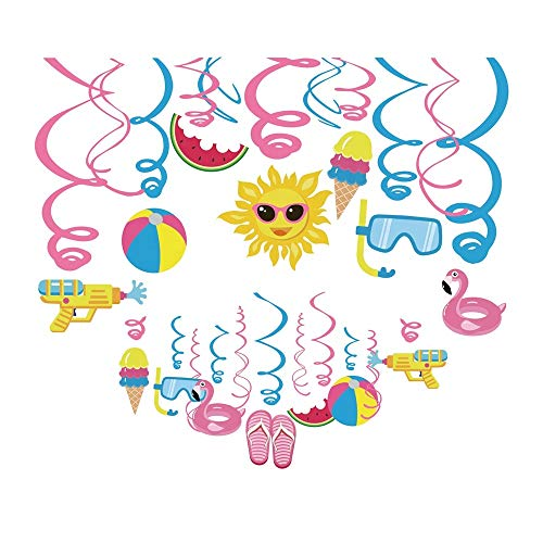 Kristin Paradise 30Ct Pool Hanging Swirl Decorations, Summer Party Supplies, Beach Birthday Theme, Tropical Kids Decor for First 1st Boys Girls Baby Shower, Pink Flamingo Hawaiian Tiki Favors