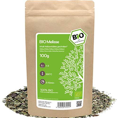 amapodo Bio Melisse Tee lose 100g Melissenblätter geschnitten für Melissentee oder als Gewürz