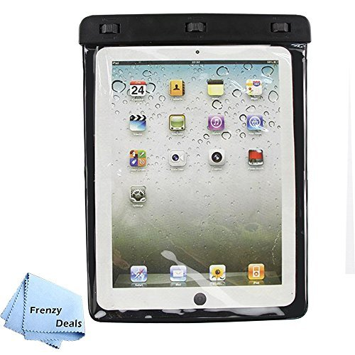 Frenzy Deals Waterproof Pouch 98ft(30m) IPX8 Rated for iPad 1,2,3,4, Air, Pro (9.7) Samsung Galaxy Tab, LG Pad, Lenovo and Many More 11 inch Tablets + Microfiber Cloth