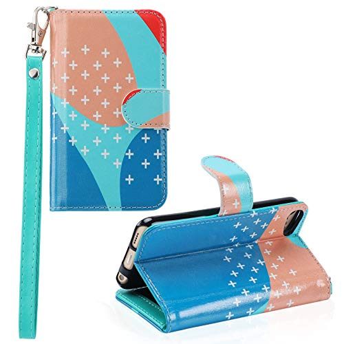 iPod Touch 7 Wallet Case iPod Touch 6 Case with Card Holder PU Leather Magnetic Closure Protective Folio Cover for iPod Touch 7th/6th/5th Generation White Cross Pattern