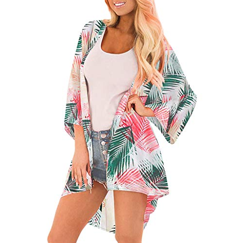 IHEHUA Damen Chiffon Kimono Cardigan Elegante Leichte Bluse Tops Strand Badeanzug Bedecken Bikini Sommerjacke 3/4 Arm Casual Strand Cover Up für Urlaub(A-Rosa,L)