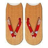 QXCWZ 3 Paare Frauen Kawaii 3D Gedruckt Hibiskus Muster Damen Sandalen Hausschuhe Kurze Söckchen 2