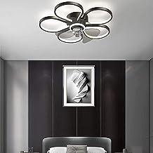 XXCC Plafondventilator met lamp, plafondlamp, dimbaar, windsnelheid verstelbaar, woonkamer licht Ø 50 cm, bloemensoort in ...