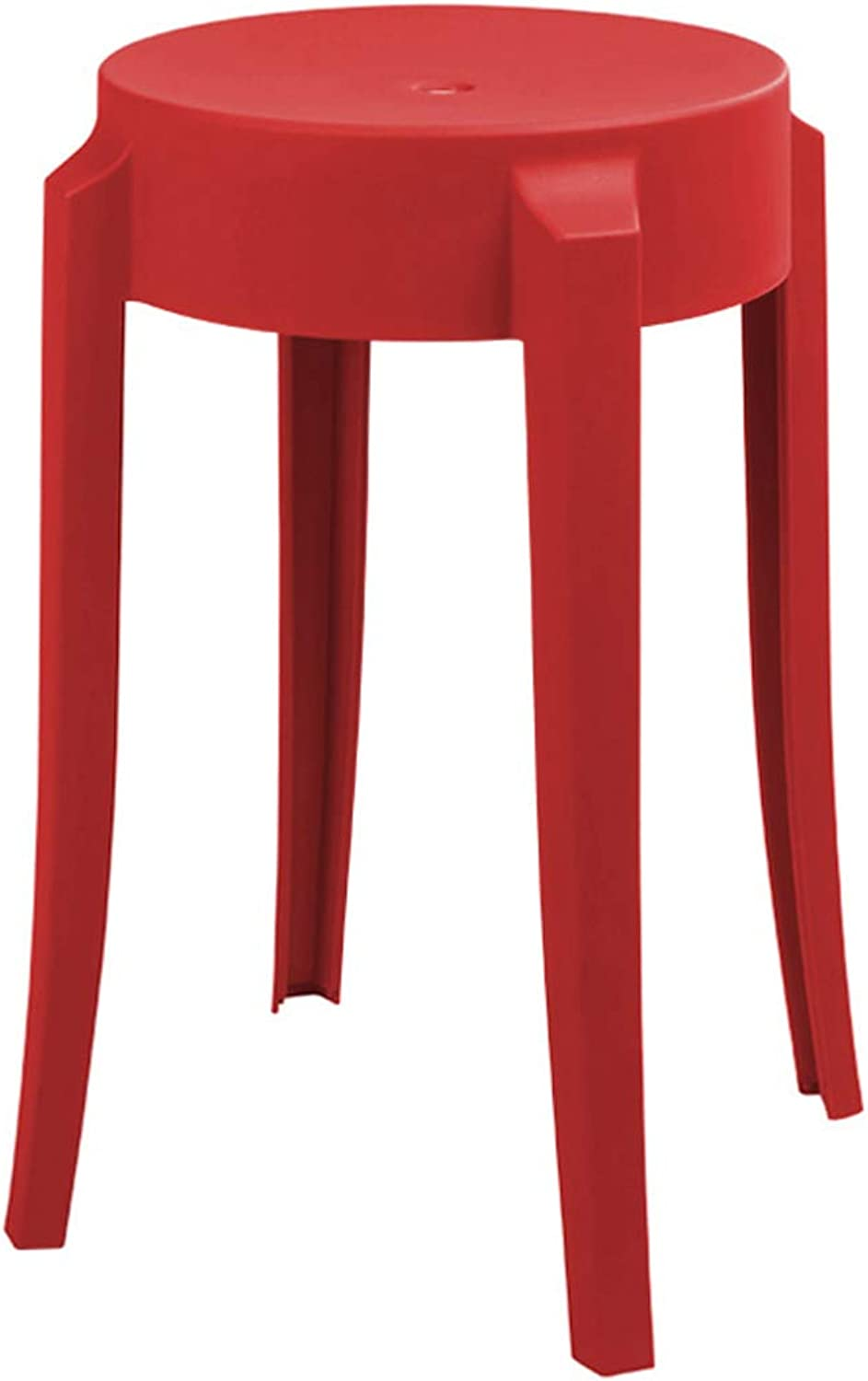 LRW Plastic Stools Thickened Adult Fashionable Small Stools, Modern Household High Stools, European Style Stool Chairs, Red