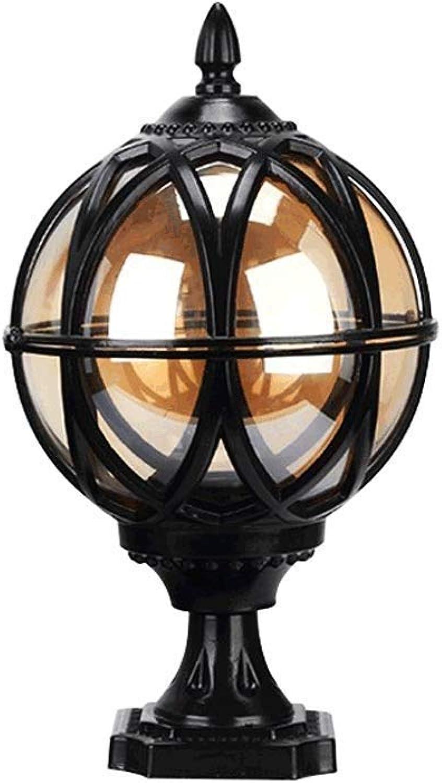 Wapipey Aluminiumkugel-Sulen-Licht-europisches Retro- im Freienziegelstein-Spalten-Lampen-IP55 regensicheres Glasauenlaterne-Victoria-Landschaftspfosten-Licht-Landhaus-Tor-Straenlaterne E27