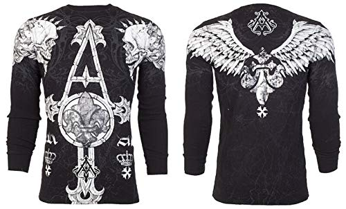 Affliction Archaic Mens Long Sleeve Thermal Shirt Tall Tale Skulls (X-Large) Black