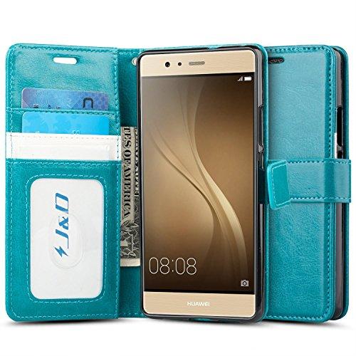 J&D Compatibile per Custodia Huawei P9 Lite, [Portafoglio Stand] [Sottile Adatta] Protettiva Robusta Antiurta Flip Custodia per Huawei P9 Lite - Turchese