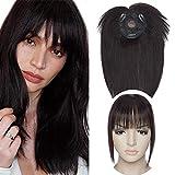 10'(25cm) SEGO Protesis Capilar Mujer Pelo Natural con Flequillo [#1B Negro Natural] 100% Remy Extensiones de Clip Cabello Humano Hair Toppers (32g)