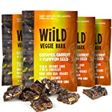Wiild Dark Chocolate Bark with Real Veggies | Caramel Carrot + Pumpkin Seed | 70% Organic Dark Chocolate | Gluten-free Non-GMO Vegan Organic Bites | 1 oz. bag - 4 pack