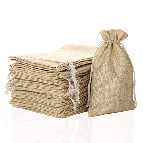 25 Pack 5″ X 8″ Linen Burlap Bags with Jute Drawstring for GiftBags Wedding Party Favors Jewelry Pouch, ChristmasBirthday Presents, Snack Sacks and DIY Craft Arts Projects