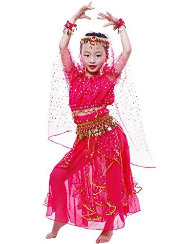 Astage Nia Traje Danza del Vientre Lentejuelas Danza India Halloween Disfraz Rosa Oscura L